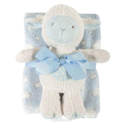 Lamb Blanket Toy Set Blue