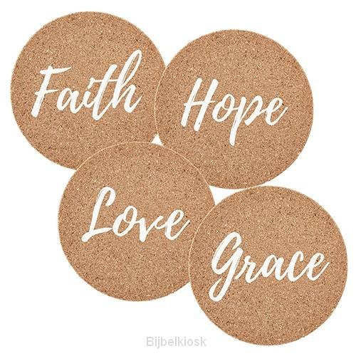 Cork Coaster Set Faith Hope Love Grace