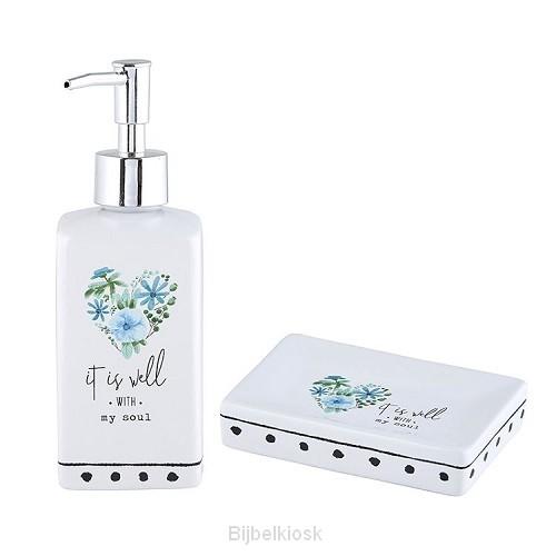 Soap Dispenser & Dish Set It is well