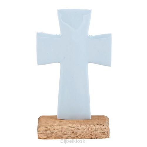 Enamel Cross Small Blue