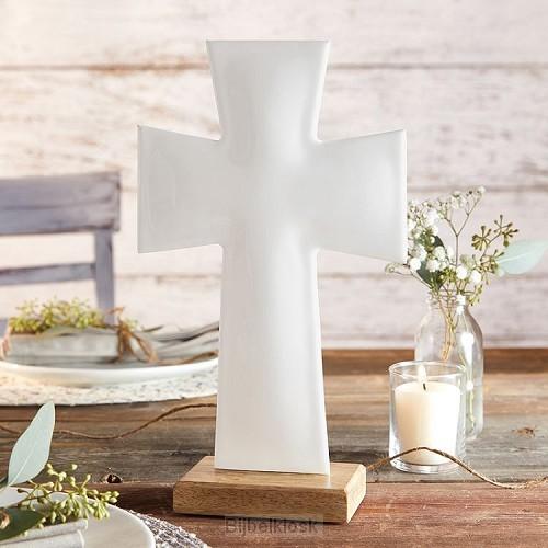 Enamel Cross Large White