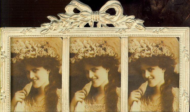 Fotolijst drieluik creme 4x5cm