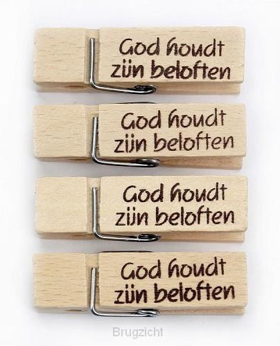 Houten knijper God houdt zijn belofte