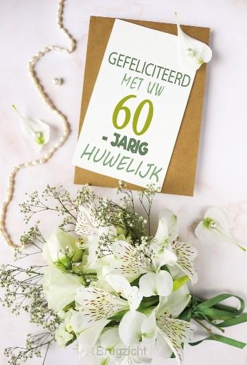Wenskaart 60jaar getrouwd