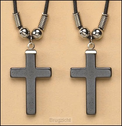 Necklace hematite cross