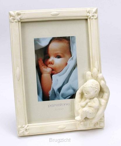Fotolijst wit 9x13cm hand met kind wit