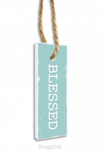 Label blessed groen 15.5x5.5cm