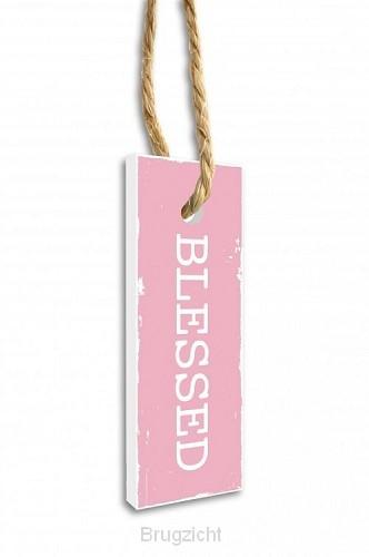 Label blessed roze 15.5x5.5cm