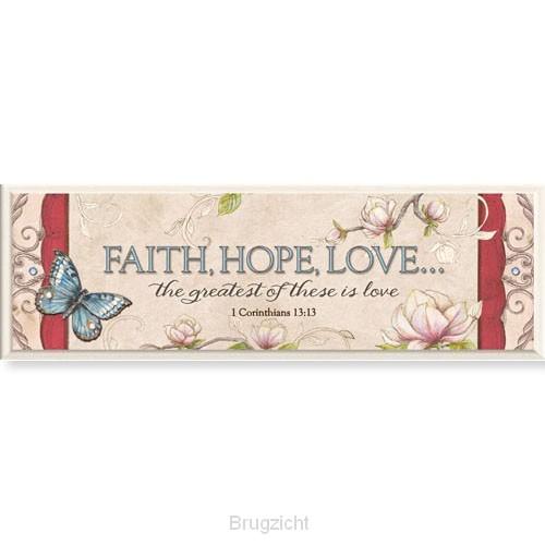 Mini plaque faith hope love