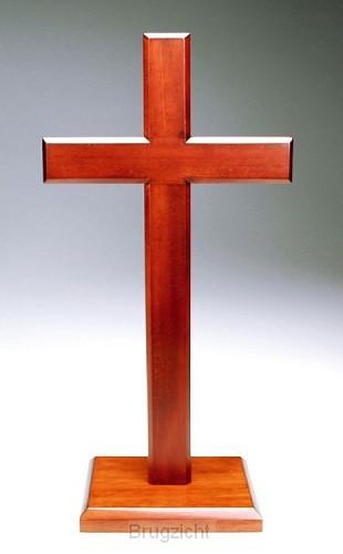 Kruis op voet 20cm mahoniehout