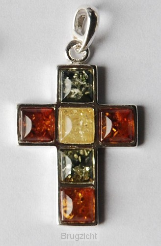 Sterling silver cross amber large