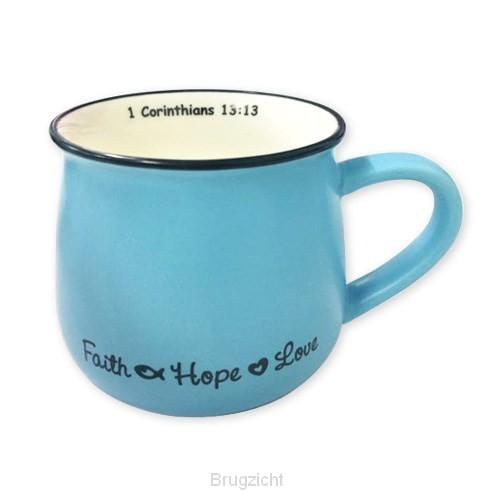 Mug faith hope love blue