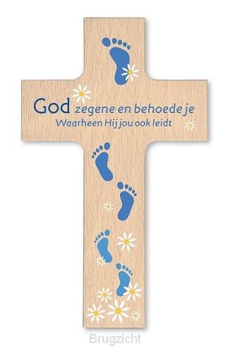 Houten kruisje God zegene 9x15cm
