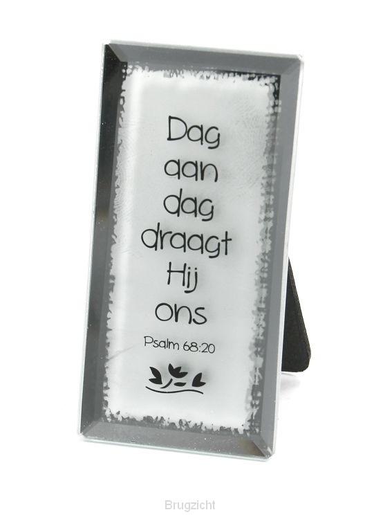 Tekstspiegel 4x8cm dag aan dag draagt