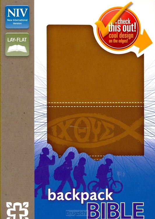 NIV Backpack Bible - Brown - Lay flat