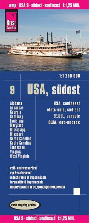 Reise Know-How Landkarte USA 9 Südost 1 : 1.250.000: Missouri, Kentucky, West Virginia, South Carolina, ...