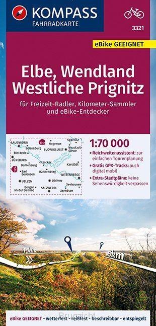 KOMPASS Fahrradkarte Elbe, Wendland, Westliche Prignitz 1:70.000, FK 3321