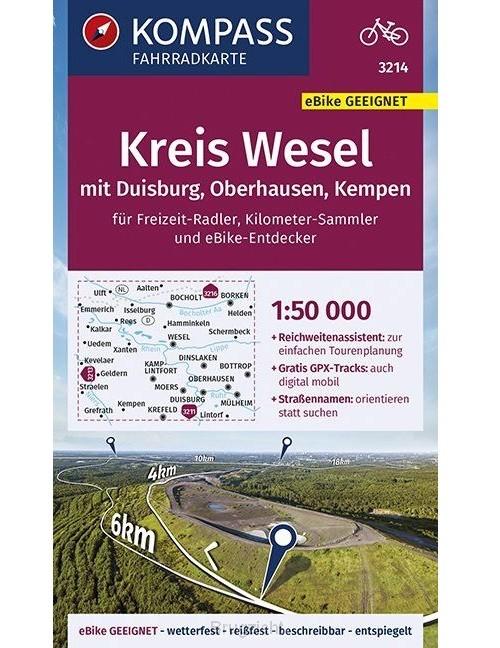 KOMPASS Fahrradkarte Kreis Wesel mit Duisburg, Oberhausen, Kempen 1:50.000, FK 3214