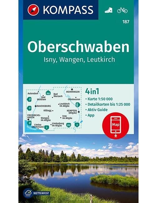 KOMPASS Wanderkarte Oberschwaben, Isny, Wangen, Leutkirch 1:50 000