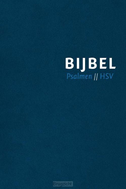 Bijbel HSV met Psalmen blauw leer index
