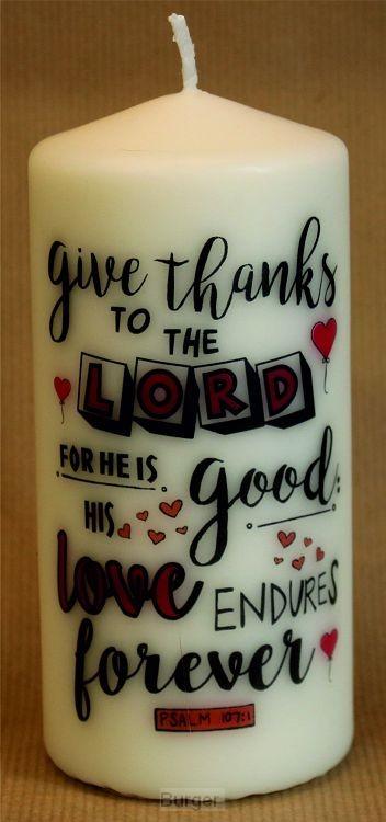 Kaars XL 15cm Give thanks