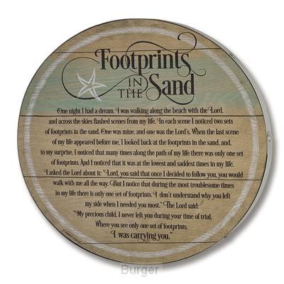 Footprints barrel lid plaque