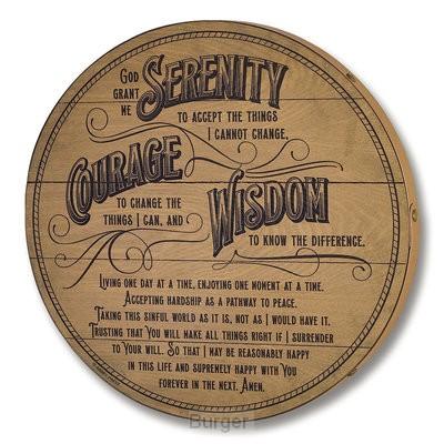 Serenity prayer barrel lid plaque