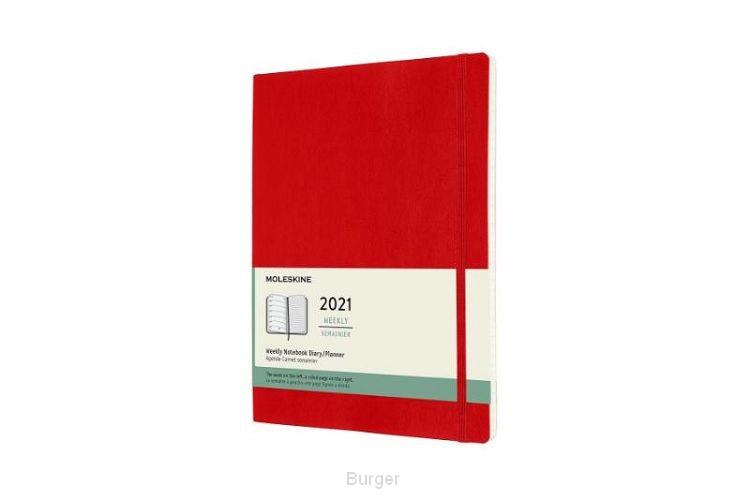 Moleskine 12 MND Agenda - 2021 - Wekelijks - XL (13X25 cm) - Scarlet Rood - Zachte Kaft