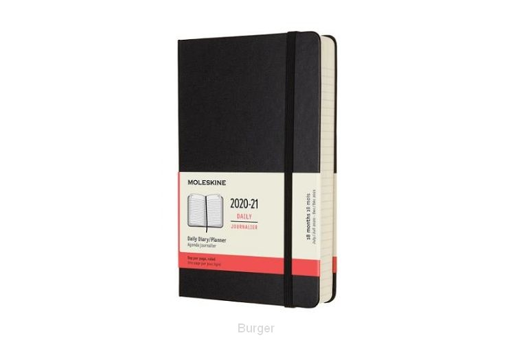 Moleskine 18 MND Agenda - 2020/21 - Dagelijks - Large (13x21 cm) - Zwart - Harde Kaft