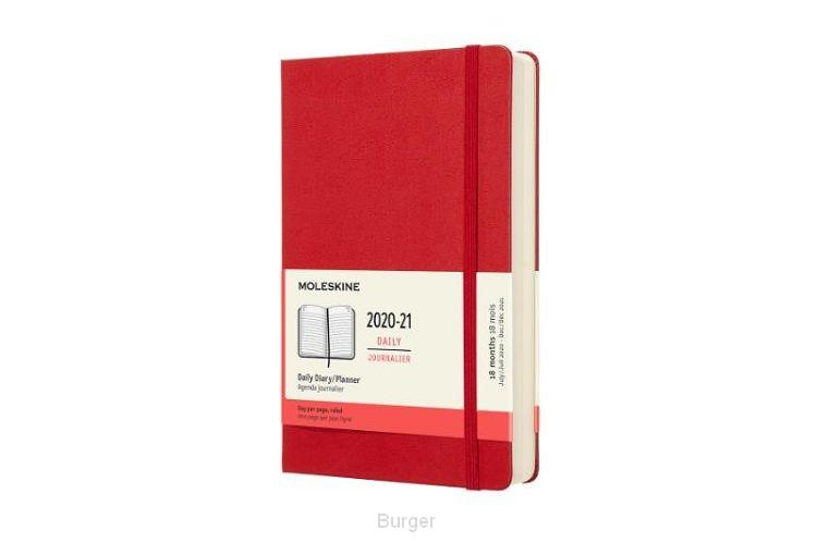 Moleskine 18 MND Agenda - 2020/21 - Dagelijks - Large (13x21 cm) - Scarlet Red - Harde Kaft