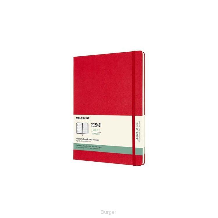 Moleskine 18 MND Agenda - 2020/21 - Wekelijks - XL (13x25 cm) - Scarlet Red - Harde Kaft