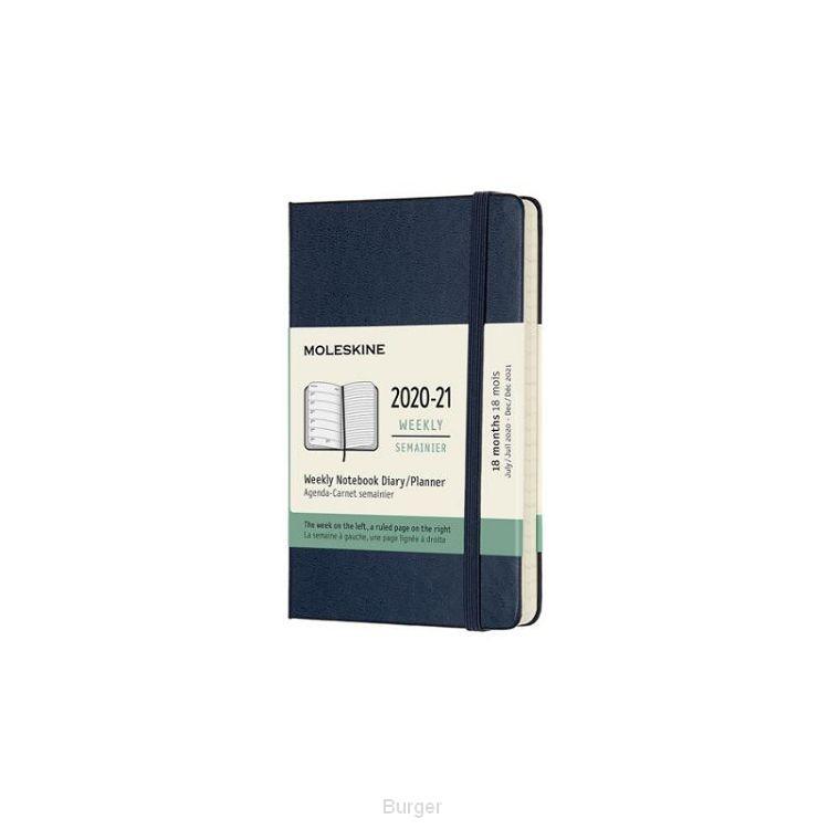 Moleskine 18 MND Agenda - 2020/21 - Wekelijks - Pocket (9x14 cm) - Sapphire Blue - Harde Kaft