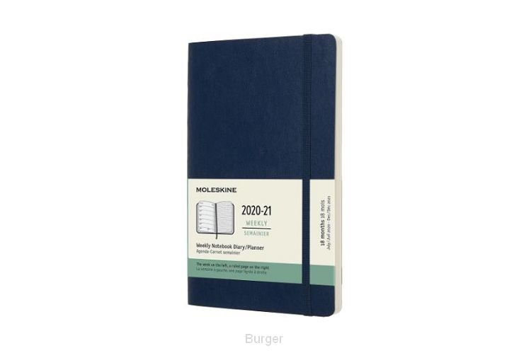 Moleskine 18 MND Agenda - 2020/21 - Wekelijks - Large (13x21 cm) - Sapphire Blue - Zachte Kaft