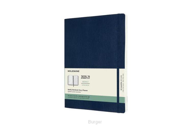 Moleskine 18 MND Agenda - 2020/21 - Wekelijks - XL (13x25 cm) - Sapphire Blue - Zachte Kaft