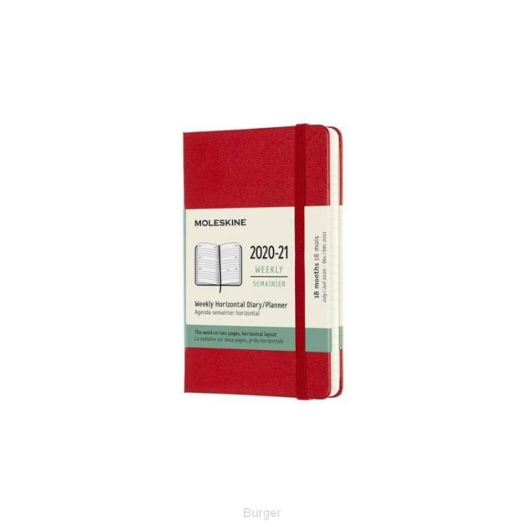 Moleskine 18 MND Agenda - 2020/21 - Wekelijks Horizontaal - Pocket (9x14 cm) - Scarlet Red - Harde Kaft