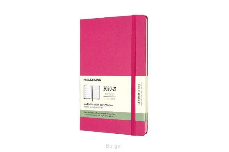 Moleskine 18 MND Agenda - 2020/21 - Wekelijks - Large (13x21 cm) - Bougainvillea Pink - Harde Kaft