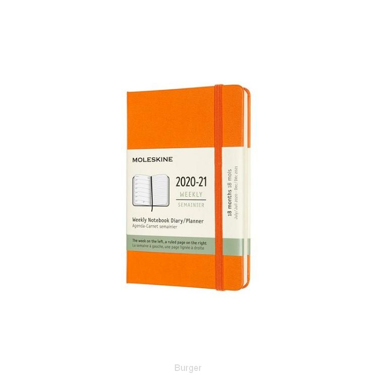 Moleskine 18 MND Agenda - 2020/21 - Wekelijks - Pocket (9x14 cm) - Cadmium Orange - Harde Kaft