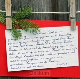 Kerstkaart want een kind is ons geboren