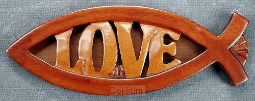 Vis love mahoniehout 15x6.5cm
