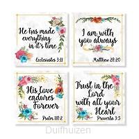 Coaster set 4 religious floral