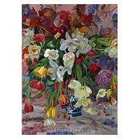 Kaart  Vaas gekleurde bloemen