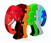 Houten puzzel Olifant - Leren tellen 1-1