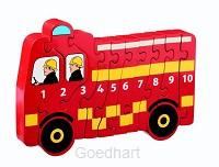 Houten puzzel Brandweerwagen - Leren tel