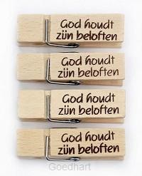 Houten knyper god houdt zyn belofte
