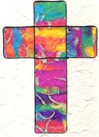 Bybelomslag kruis veelkleurig