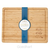 Houten bord bamboo Give us this day...