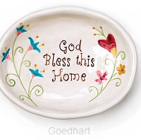 Oval plate God bless this home 14x10.7cm