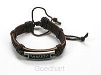 Armband leer wwjd bruin verstelbaar