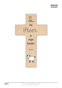 Houten kruisje de Heere is mijn Herder