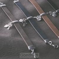 Armband buffelleer bedels taupe
